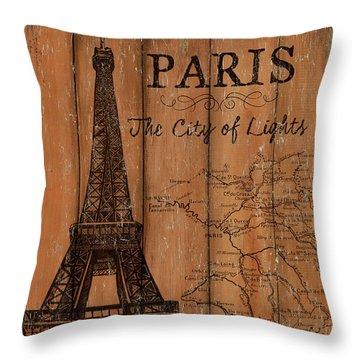 Vintage Travel Paris Throw Pillow by Debbie DeWitt