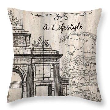 Vintage Travel Poster Madrid Throw Pillow
