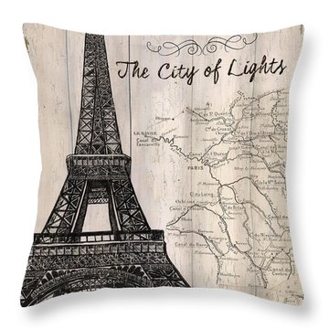 Vintage Travel Poster Paris Throw Pillow by Debbie DeWitt