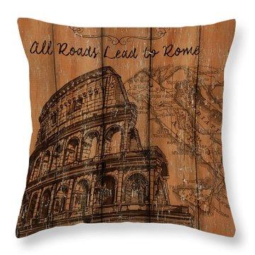 Vintage Travel Rome Throw Pillow