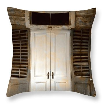 Vintage Tropical Weathered Key West Florida Doorway Throw Pillow by John Stephens