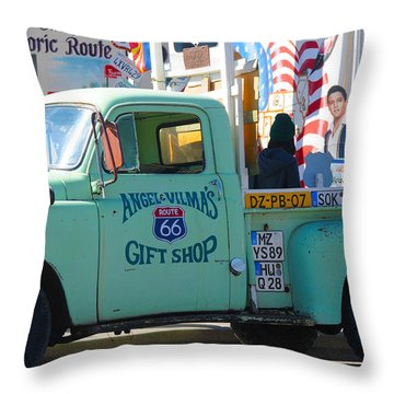 Vintage Truck With Elvis On Historic Route 66 Throw Pillow