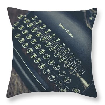 Vintage Typewriter Faded Film Throw Pillow by Edward Fielding