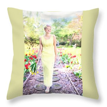 Vintage Val In Tulips Throw Pillow