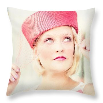 Vintage Val The Coral Hat Throw Pillow