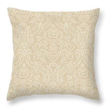 Vintage Wallpaper Beige Floral Elegant Damask Throw Pillow