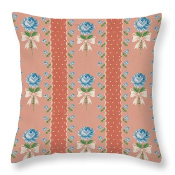 Vintage Wallpaper Blue Roses Coral Polka Dots Throw Pillow