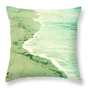 Vintage Waves In Yellow And Blue Throw Pillow