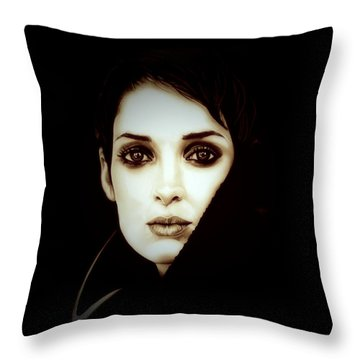 Vintage Winona Ryder Throw Pillow by Fred Larucci
