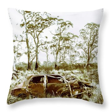 Vintage Winter Car Wreck Throw Pillow