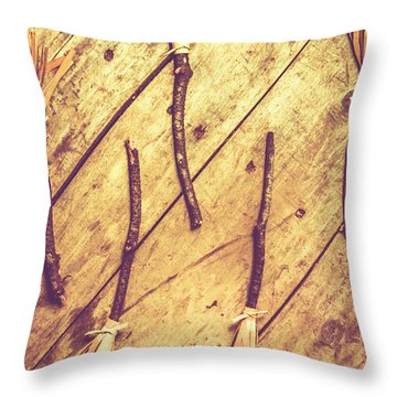 Vintage Witches Broomsticks Throw Pillow