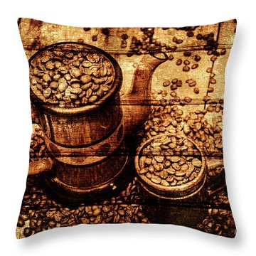 Vintage Wooden Coffee Shop Sign Throw Pillow