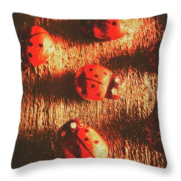 Vintage Wooden Ladybugs Throw Pillow