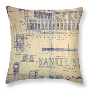 Vintage Yankee Stadium Blueprint Signed By Joe Dimaggio Throw Pillow
