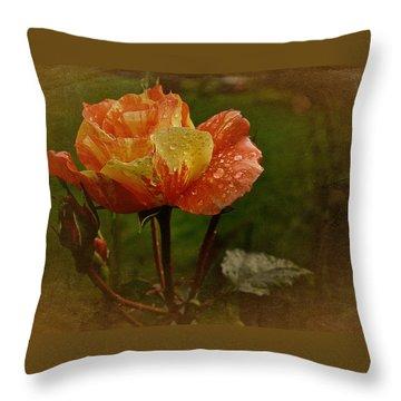 Vintage Sunset Rose Throw Pillow