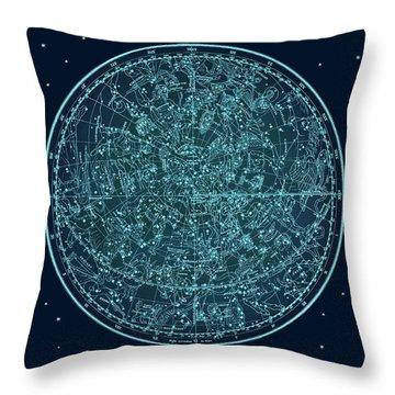 Vintage Zodiac Map - Teal Blue Throw Pillow