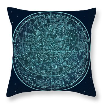 Vintage Zodiac Map - Teal Blue Throw Pillow