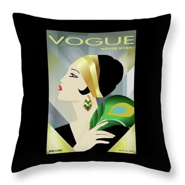 Vinttage Vogue Cover April 1929 Throw Pillow