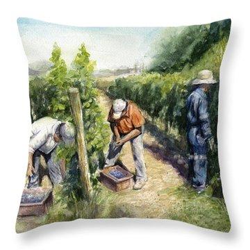 Vineyard Watercolor Throw Pillow