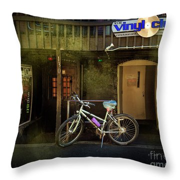 Throw Pillow featuring the photograph Vinyl Club Bicycle by Craig J Satterlee