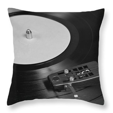 Vinyl Record Playing On A Turntable Overview Throw Pillow