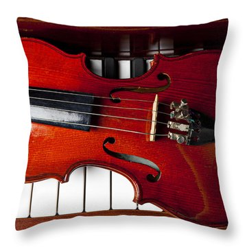 Viola On Piano Keys Throw Pillow by Garry Gay