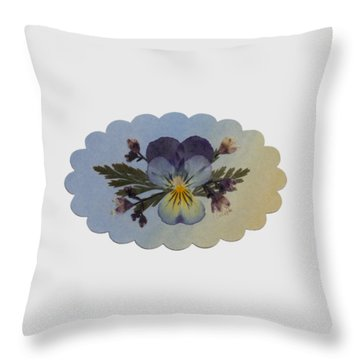 Viola Pressed Flower Arrangement Throw Pillow