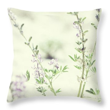 Violet And Green Bloom Throw Pillow by Amyn Nasser