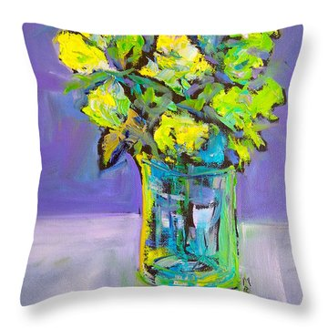 Throw Pillow featuring the painting Violet And Lime by Mary Schiros