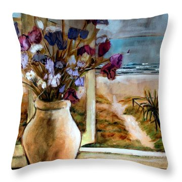 Violet Beach Flowers Throw Pillow