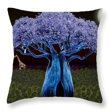 Throw Pillow featuring the digital art Violet Blue Baobab by Iowan Stone-Flowers