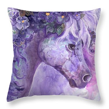 Violet Fantasy Throw Pillow by Sherry Shipley