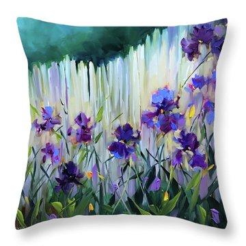 Violet Joy Iris Garden Throw Pillow