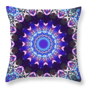 Violet Lace Throw Pillow by Shawna Rowe