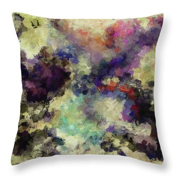 Throw Pillow featuring the painting Violet Landscape Painting by Ayse Deniz