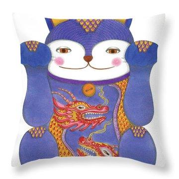 Violet Maneki-neko Throw Pillow