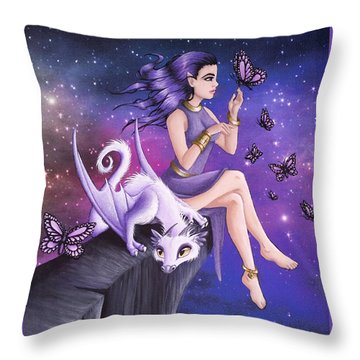 Violet Night Fantasy Throw Pillow
