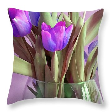 Violet Tulips Throw Pillow