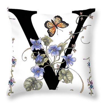 Violets And A Viceroy Butterfly Throw Pillow by Stanza Widen