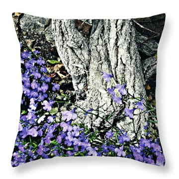 Violets At My Feet Throw Pillow by Sarah Loft