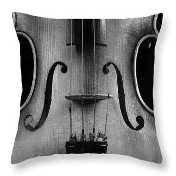 Violin # 2 Bw Throw Pillow by Jim Mathis