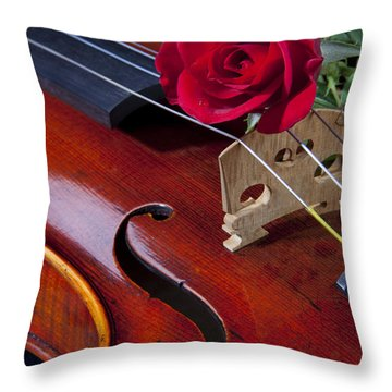 Violin And Red Rose Throw Pillow by M K  Miller