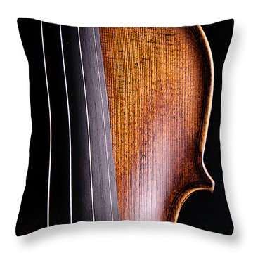Violin Isolated On Black Throw Pillow by M K  Miller