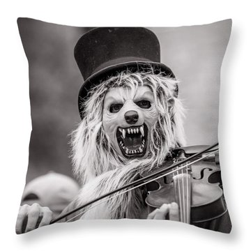 Violin Monster On 6 Th Throw Pillow by Sean Wray