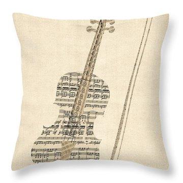 Violin Old Sheet Music Throw Pillow
