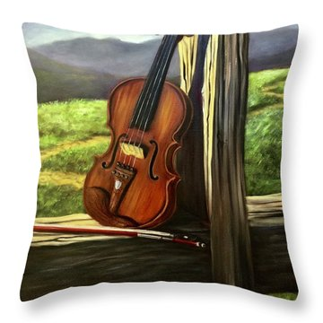 Throw Pillow featuring the painting Violin by Randol Burns