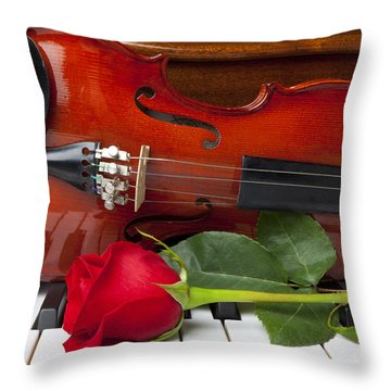 Violin With Rose On Piano Throw Pillow by Garry Gay