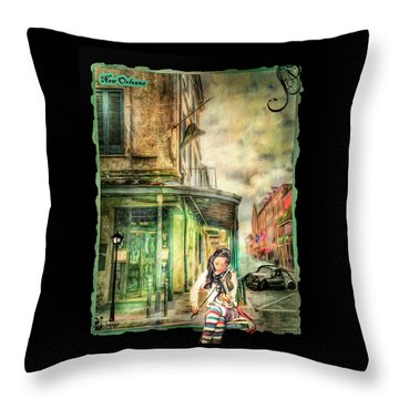 Violinist Evening Throw Pillow