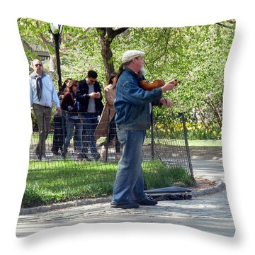 Violinist Throw Pillow