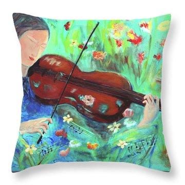 Violinist In Garden Throw Pillow
